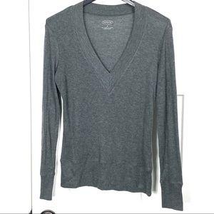 Talbots small 100% Tencel gray V neck sweater